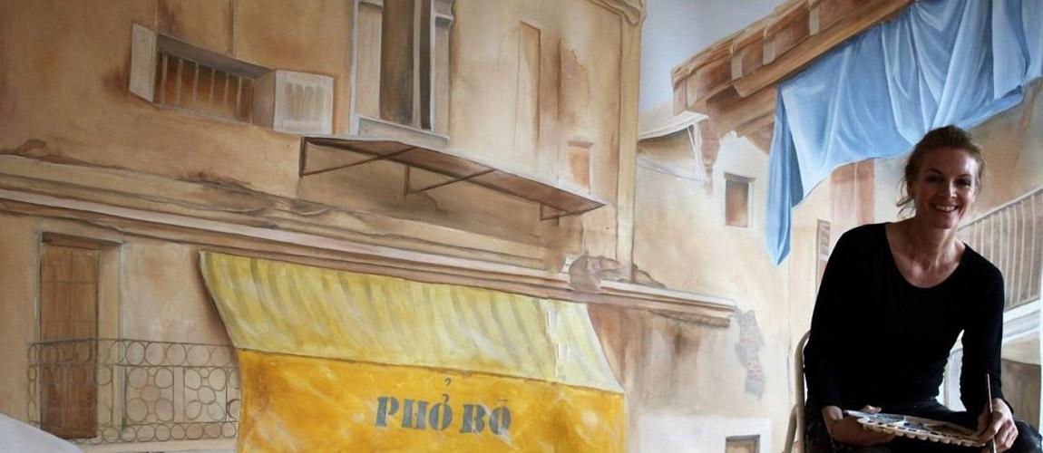 Wandmalerei in einem vietnamesischen Restaurant in München